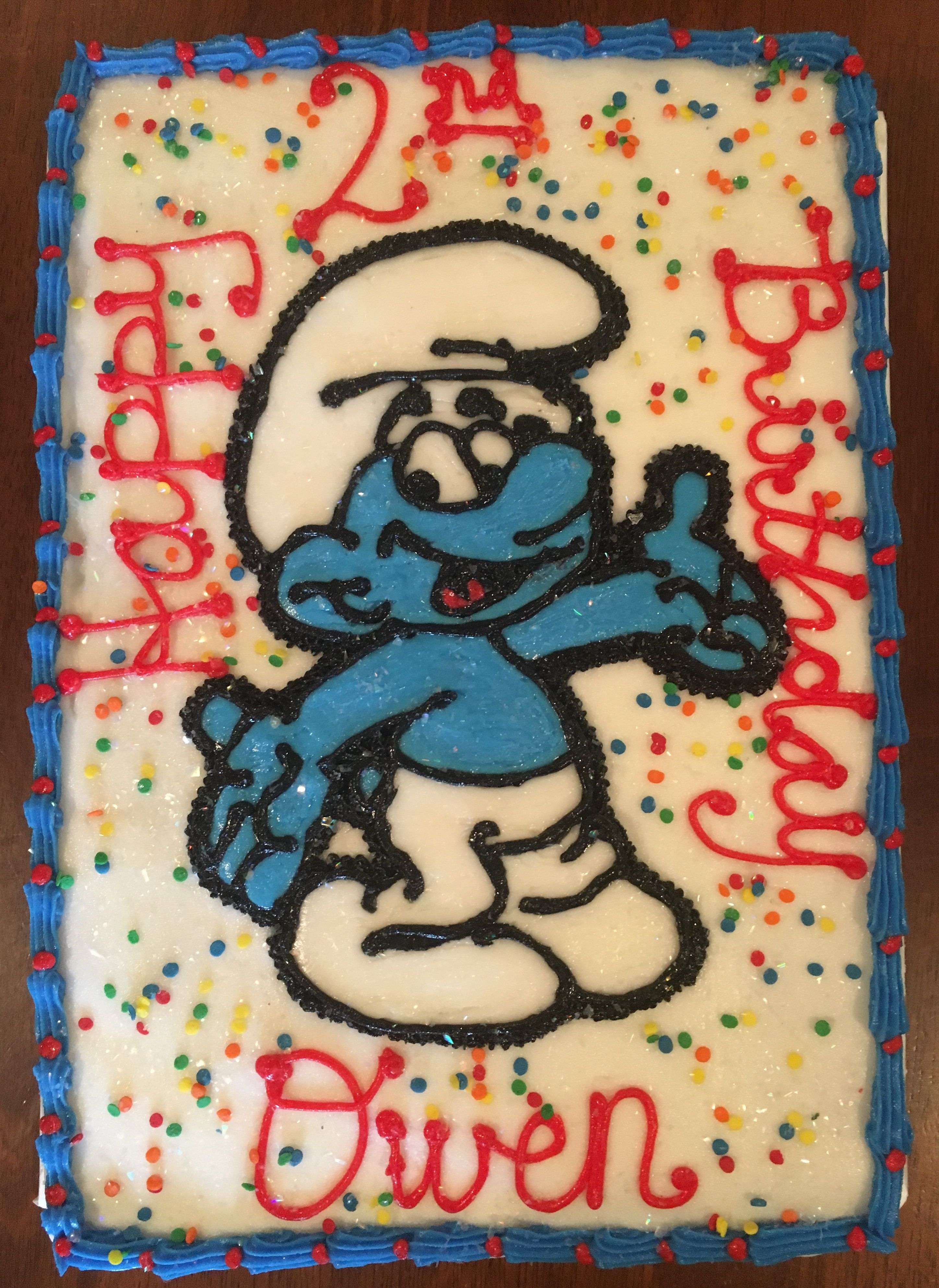 Boy Smurf Birthday Cake Homemade cakes, Cake designs
