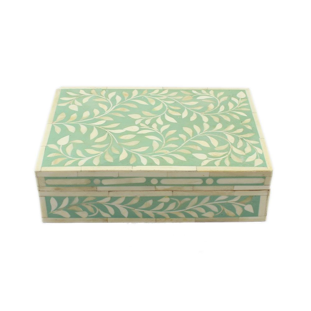 Decorative Boxes Spring Green Bone Inlay Decorative Box  All Purpose Boxes