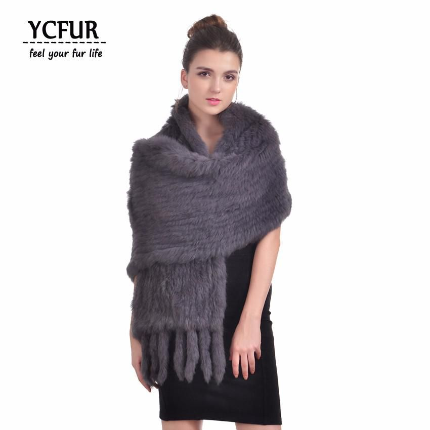 86bd905caef84 YCFUR 170 cm Women Shawls Wraps Winter Soft Warm Handmade Knit Natural  Rabbit Fur Scarves Wraps With Tassels Long Scarf Female. Yesterday's price:  US $77.90 ...