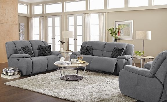 For The Man Cave Destin Gray Upholstery Collection Value City Furniture Power Reclining Sofa