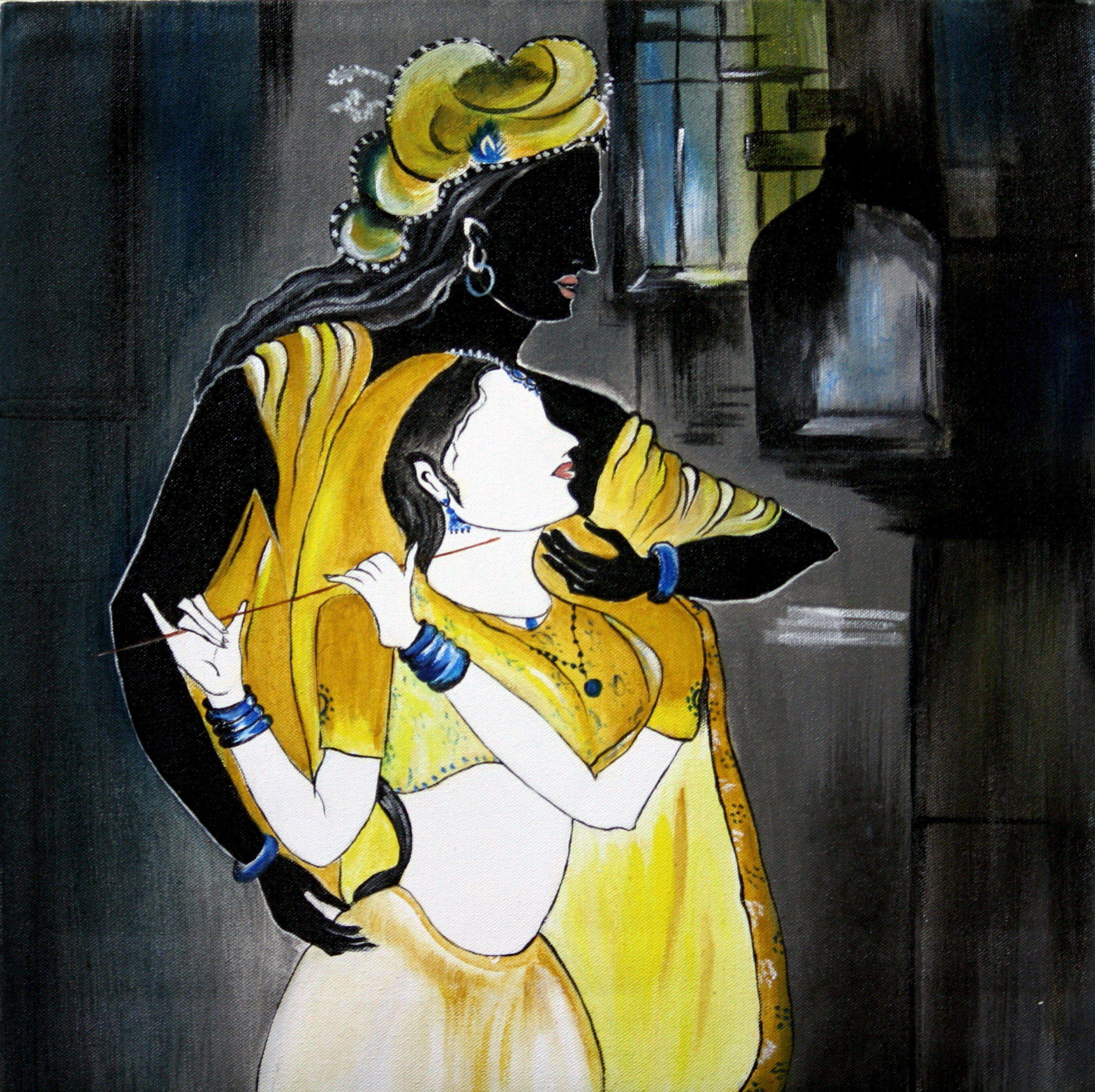 Radha Krishna Oil Canvas Painting Mumbai Art Collectibles Pictures ...