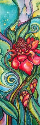 torch ginger, flower, colleen wilcox art, hawaii