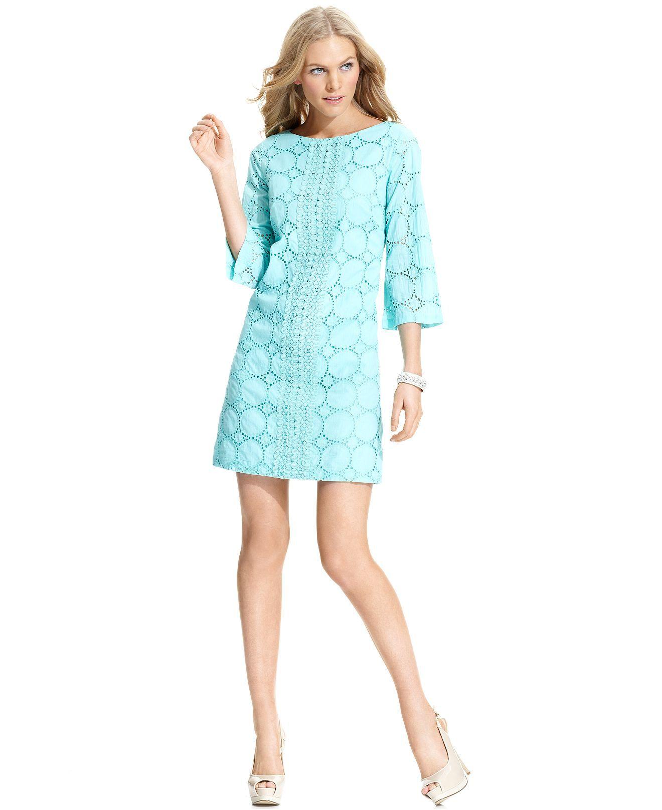 London Times Dress, Three-Quarter-Sleeve Eyelet Shift - Dresses ...