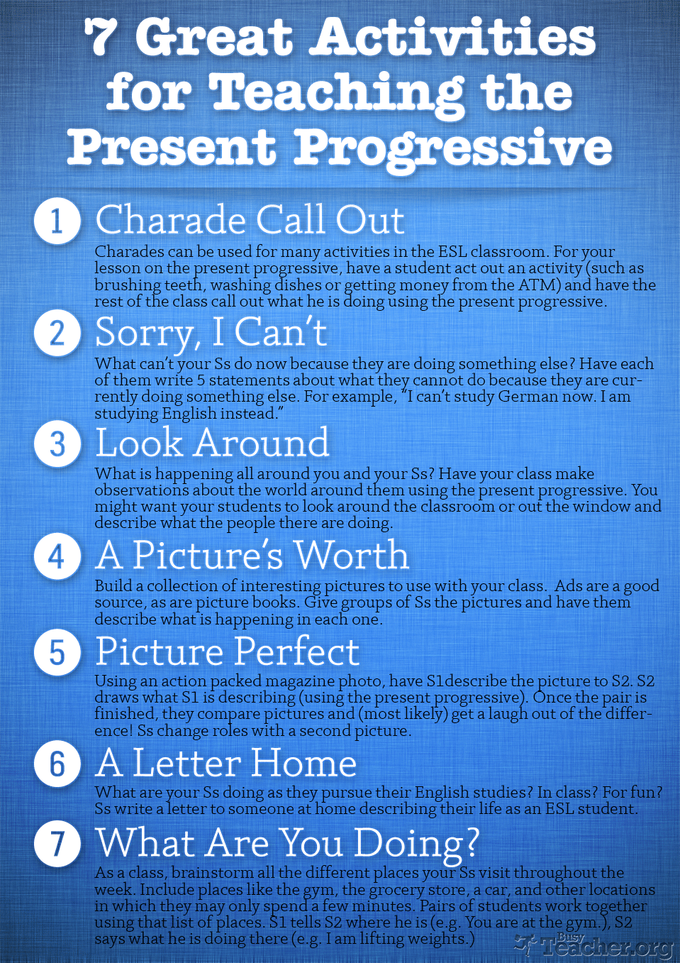 Great Activities To Teach The Present Progressive  Busy Teacher