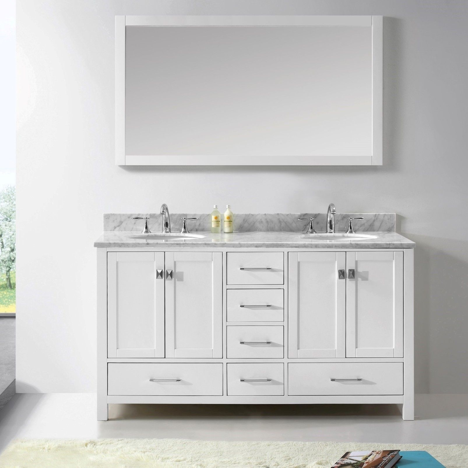 Caroline Avenue 61 Double Bathroom Vanity Set With Mirror