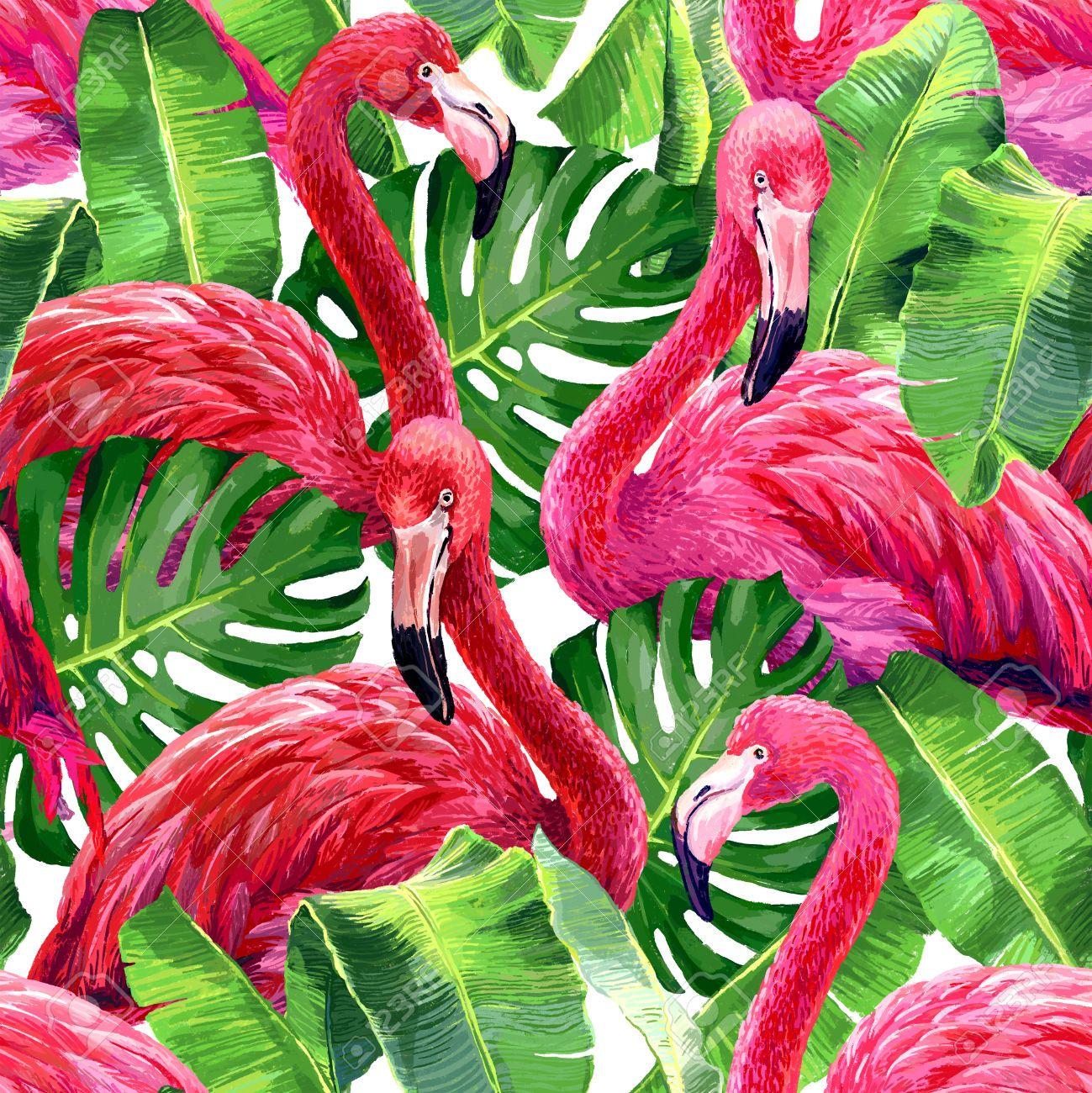 48256804 Pink Flamingo Monstera Leafs Palm Leaf Seamless