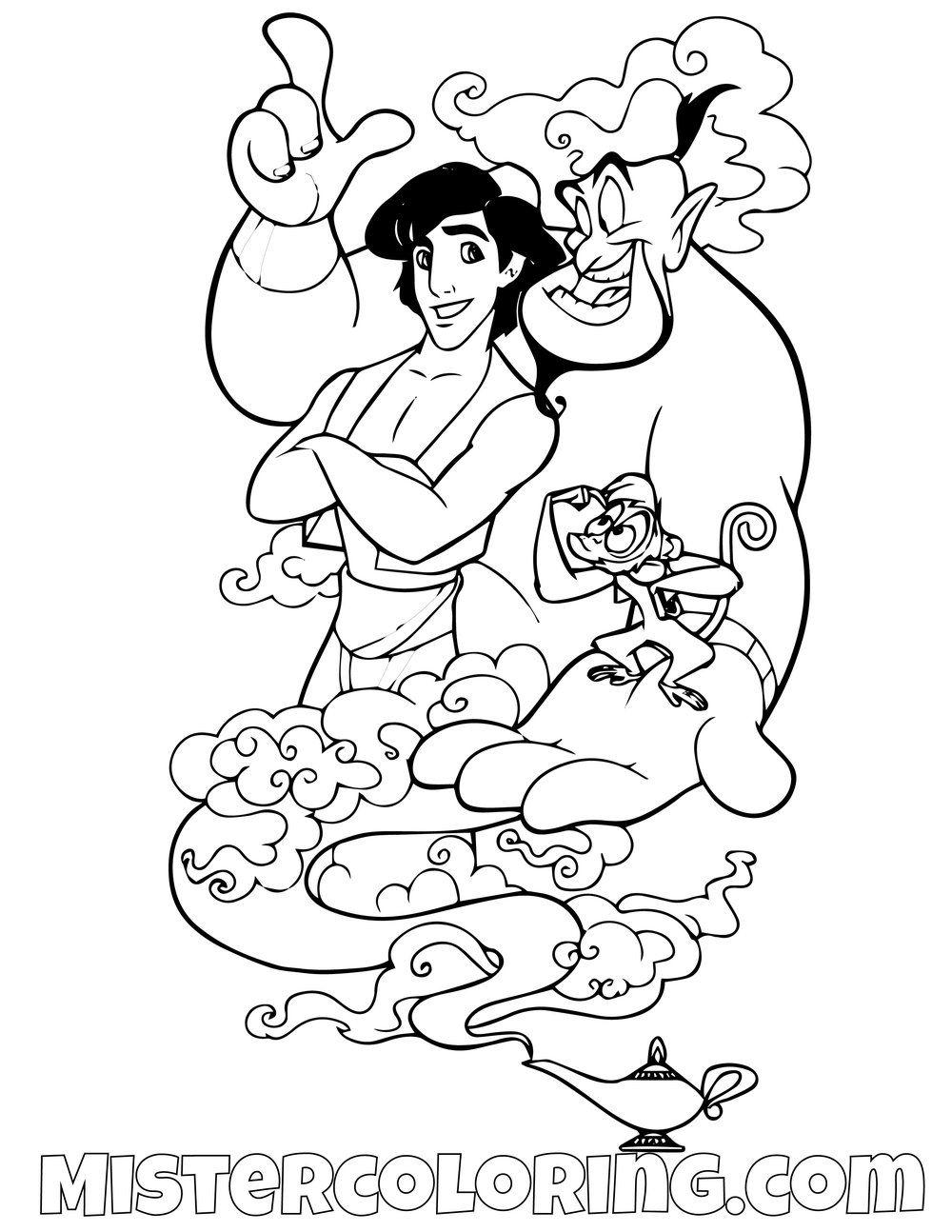 Aladdin Abu And Genie Aladdin Coloring Page For Kids Aladdin
