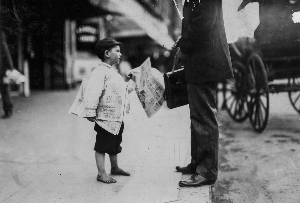 """September 1911 """"Hyman, six year old newsie. Another six year old newsie said he sold until 6 p.m. Lawrence, Massachusetts."""" IMAGE: LEWIS HINE/LIBRARY OF CONGRESS"""