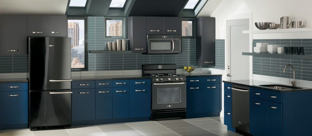 Slate finish appliances with contemporary ge slate for Slate blue kitchen decor