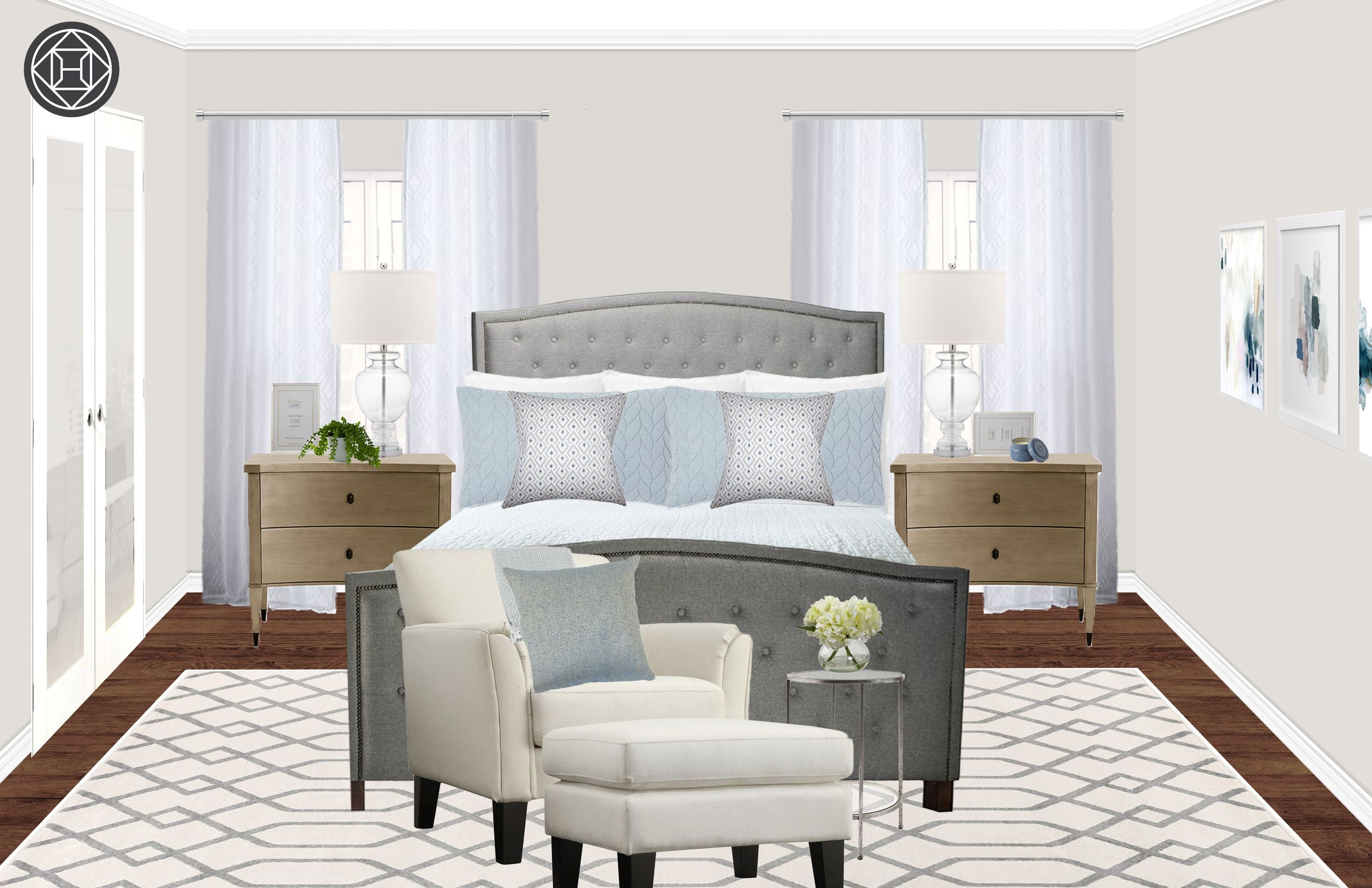 Classic, Transitional Bedroom Design by Havenly Interior