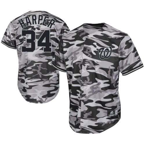 Mlb Majestic Bryce Harper Washington Nationals Black Camo Player Jersey Washington Nationals Fanwear Baseball Jerseys