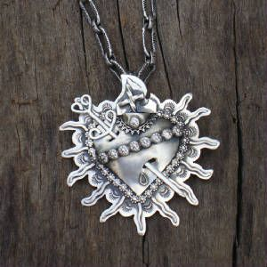 Sterling silver sacred heart pinpendant with removable sword sterling silver sacred heart pinpendant with removable sword jewelry from the heart and soul of santa fe aloadofball Images