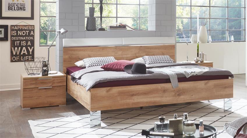 Bett LEVEL BEDS Bettensystem Plankeneiche weiß 180x200 ...