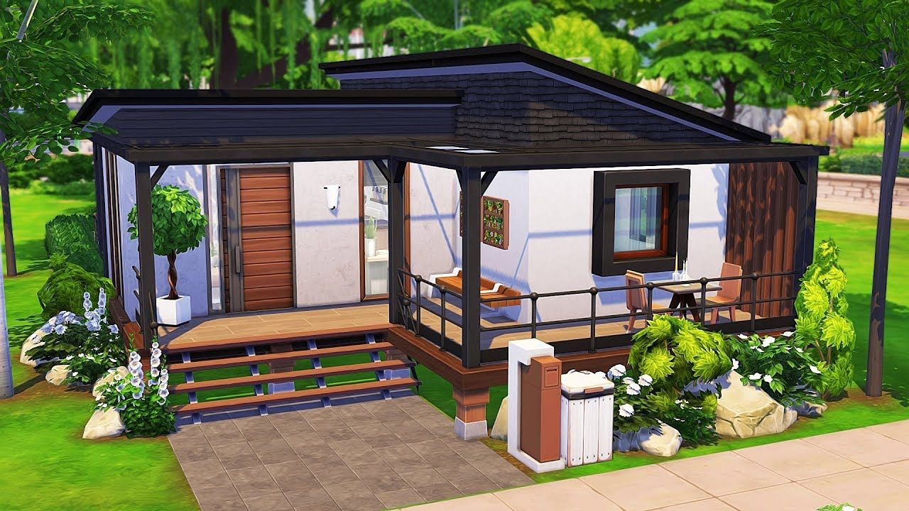 Roommates Tiny House The Sims 4 Speed Build Sims House Design Sims 4 Modern House Sims 4 House Design