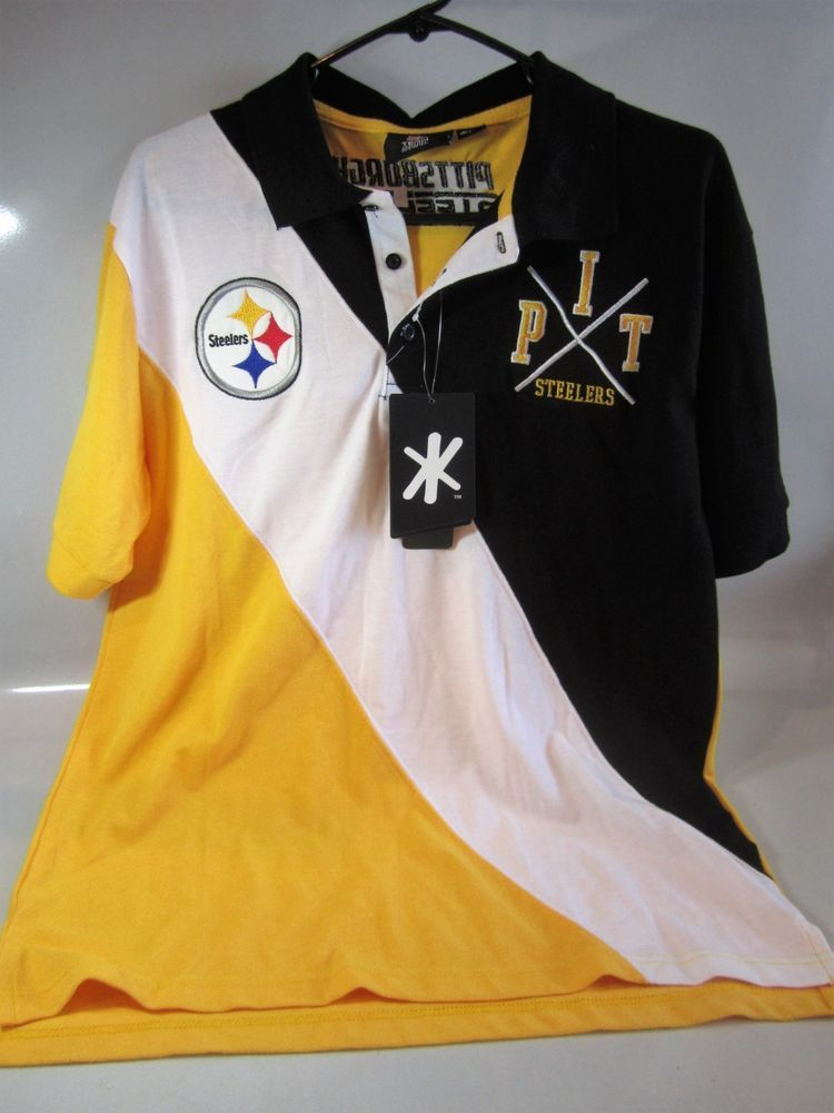 3fa3fb3fd5a NFL Pittsburgh Steelers Polo Shirt ~ Size Large ~ Embroidered Details NEW w  Tags  KLEW  PittsburghSteelers