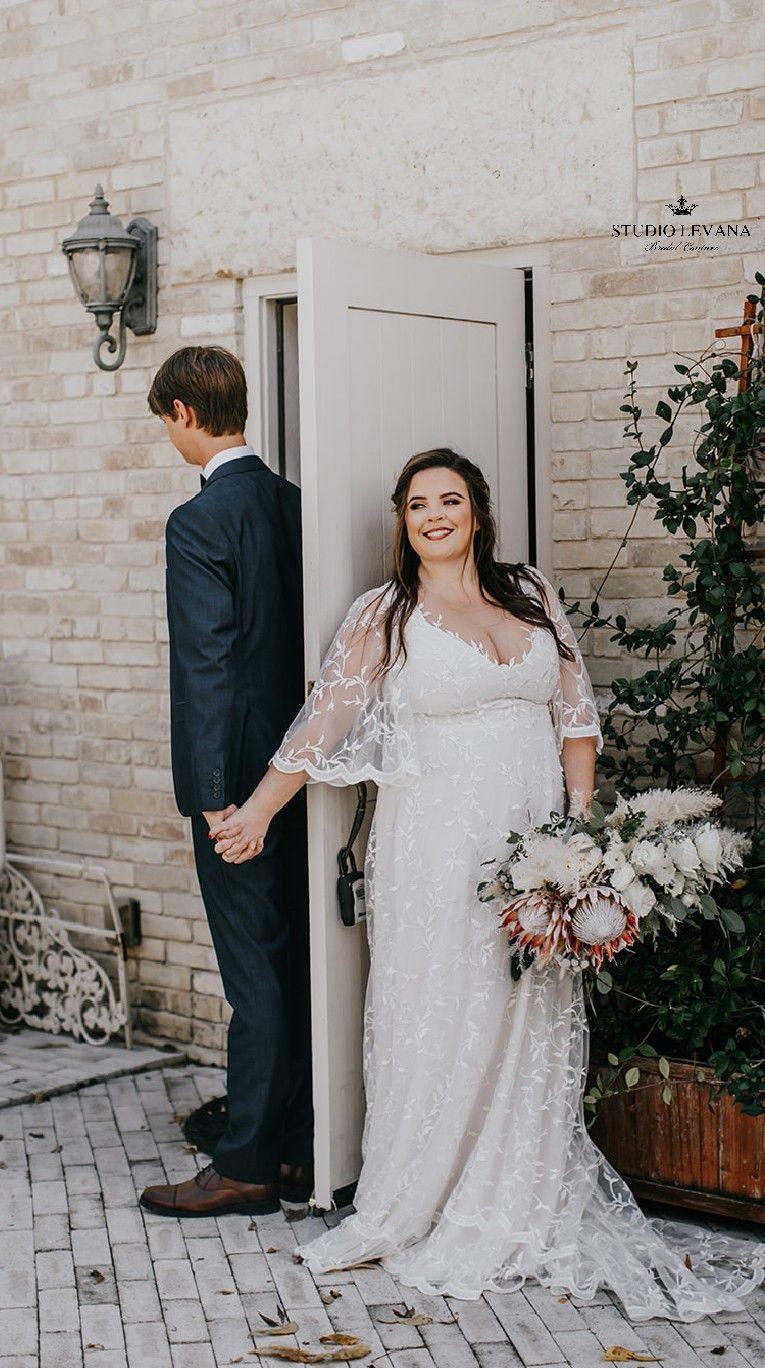 Bohemian Light Plus Size Wedding Dress Deep V Neckline And Flutter Sleeves Rosie By Studio Levan Wedding Dresses Bride Wedding Photos Plus Size Wedding Gowns [ 1368 x 765 Pixel ]