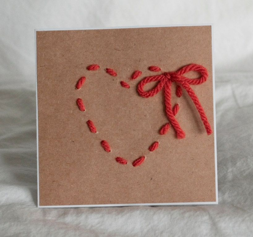 Valentines Day Greeting Cards Love Handmade Yarn Heart Bow 250 – How to Make Valentine Greeting Card