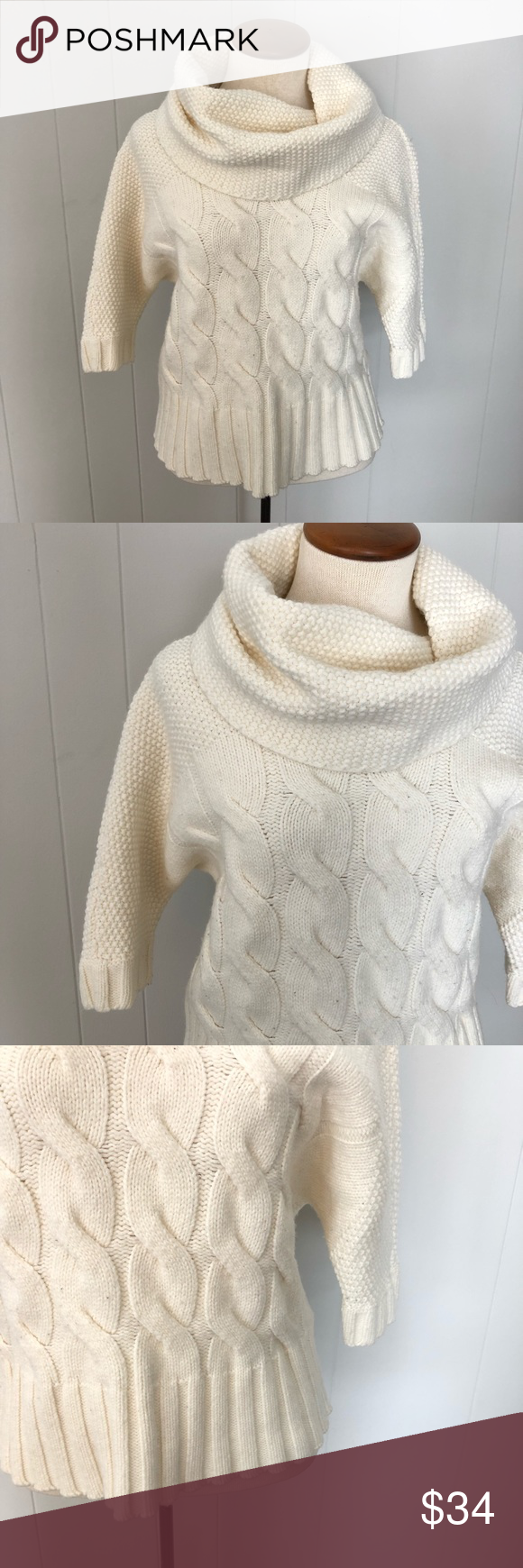 Express Cowl Neck Knit Sweater Express Knit Sweater Cowl Neck Cable Knit On Front Waffle Knit On Collar Sle Cowl Neck Knit Sweater Knitted Sweaters Sweaters