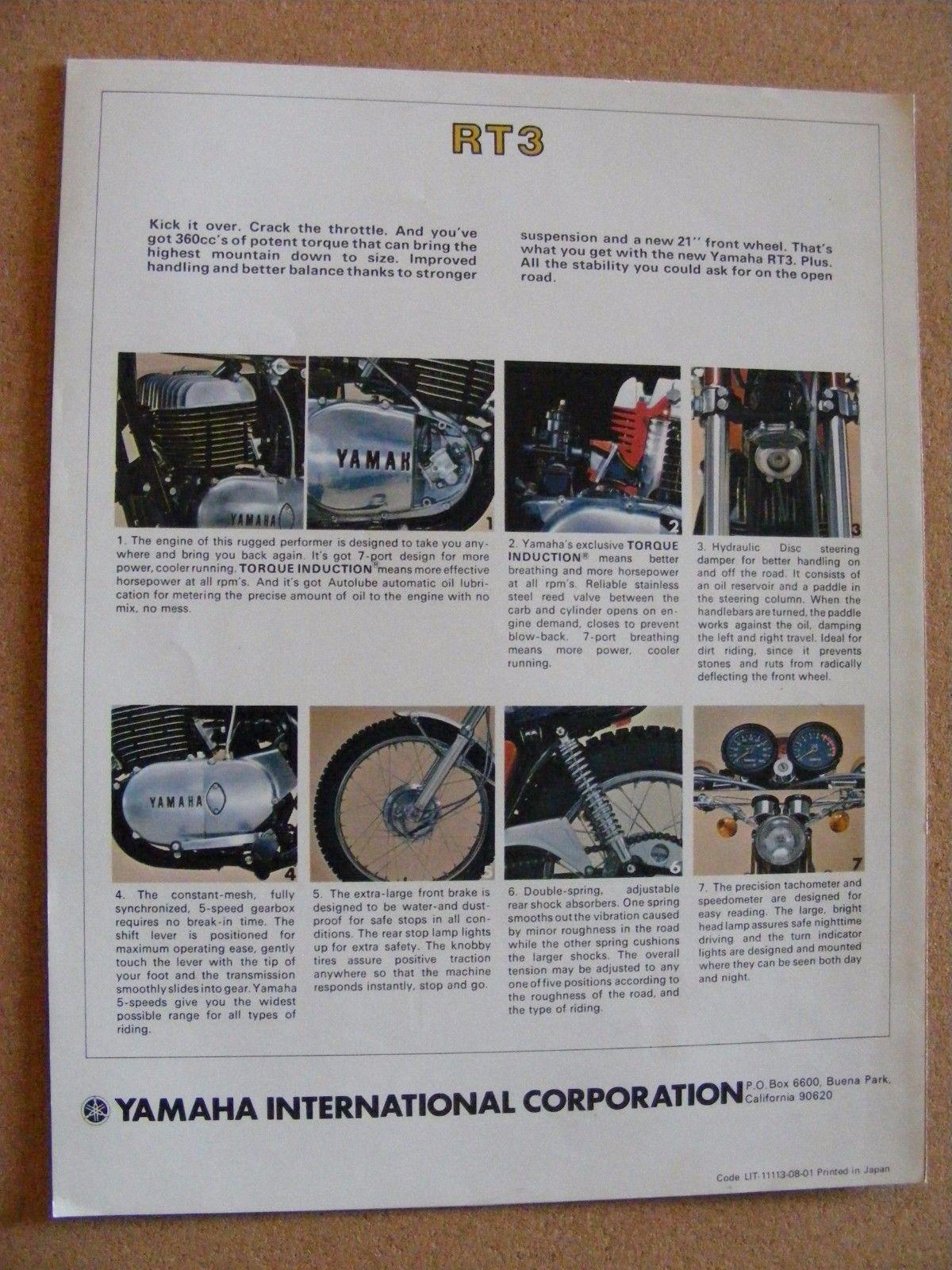 Vintage Yamaha Rt  Original Motorcycle Dealer Sales Brochure