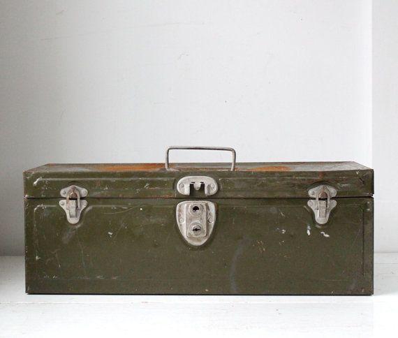 vintage industrial 1950s metal toolbox by Luncheonettevintage, $30.00
