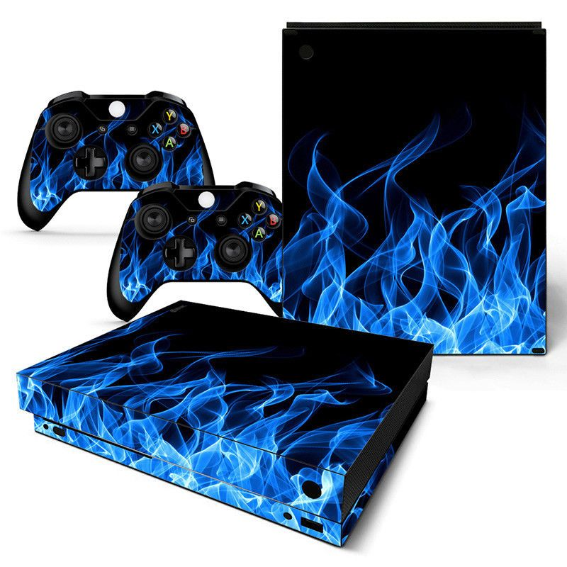 Xbox One X Skin Blue Flame Console 2 Controllers Decal Vinyl