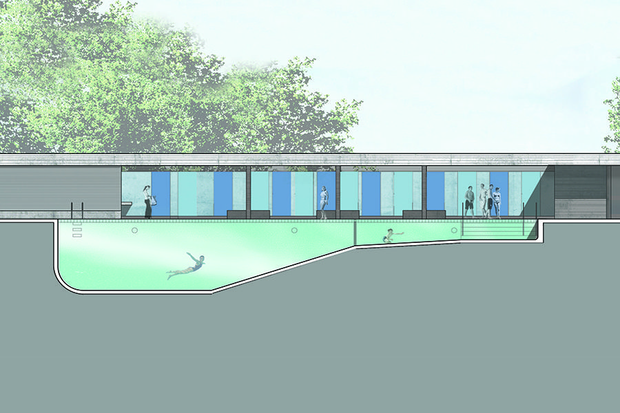 Costello Pool And Bathhouse Section Through Pool Arch 100c Idea Board Architectural