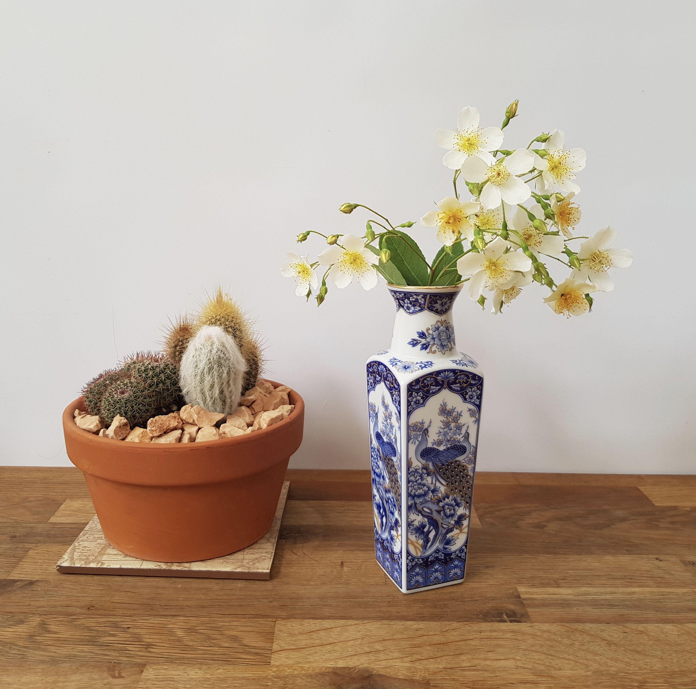 Vintage Peacock Vase Old Bird Vase Old Floral Vase Boho
