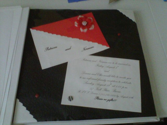 The first page of our weeding album, with my handmade invitations, 2012.