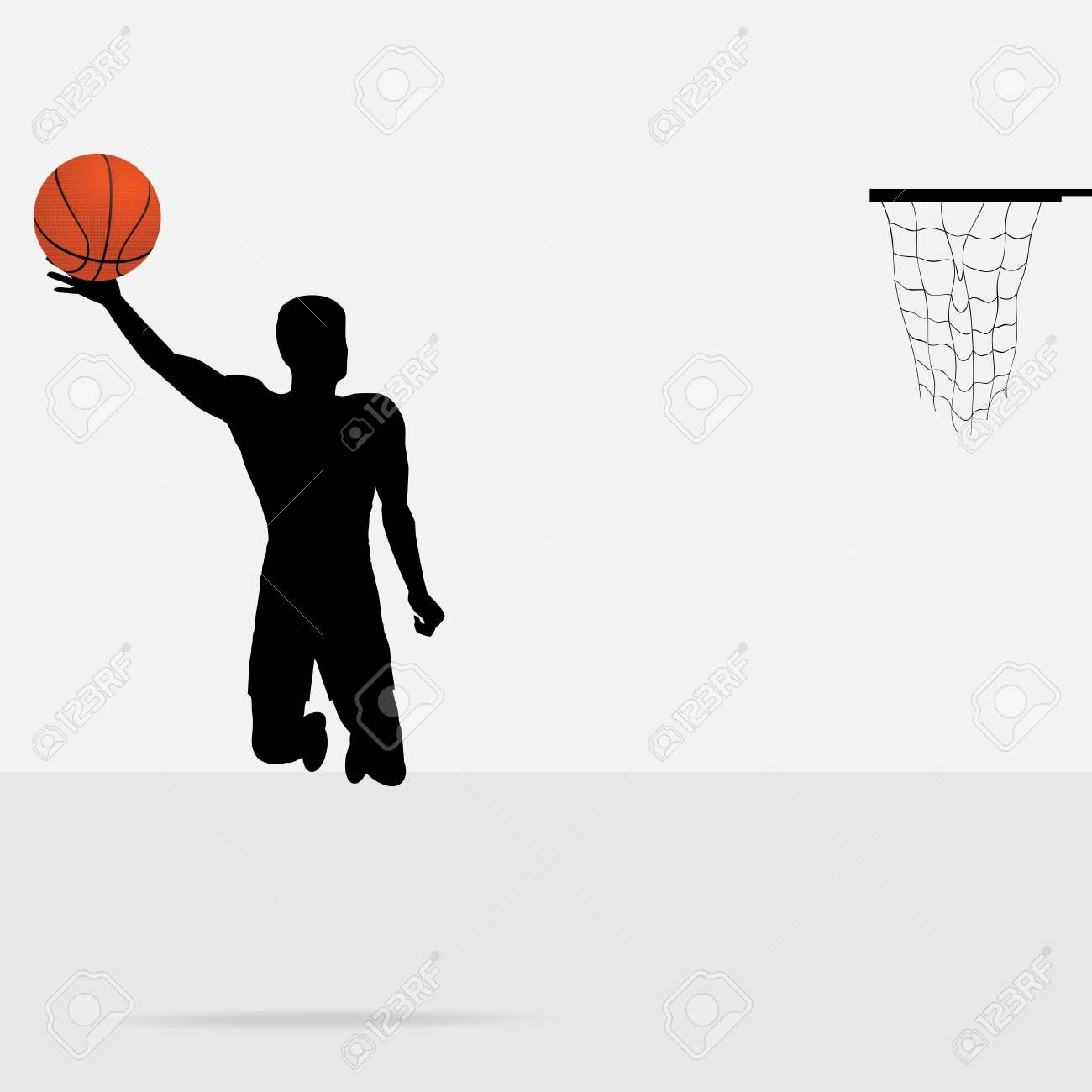 Silhouette Of A Basketball Player Jumping To Score With Detailed Ball Affiliate Player Basketball Silhouett Basketball Players Flyer Design Silhouette