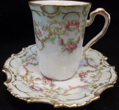 Antique Limoges Tea Set | Antique Limoges France Tea Chocolate Cup Saucer  Set Bone China Gold