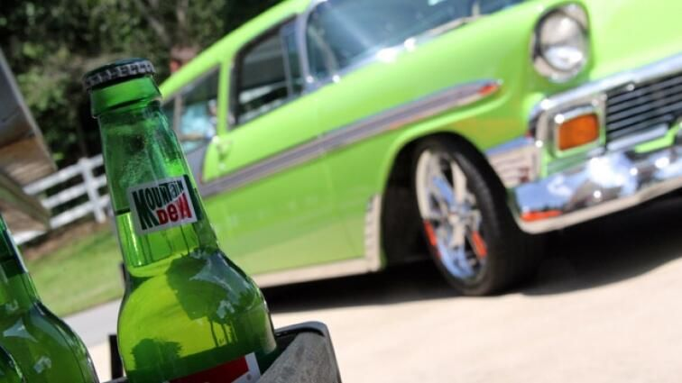 Dale's 1956 Chevy Nomad Wagon built by Gas Monkey Garage painted Diet Mt. Dew green!