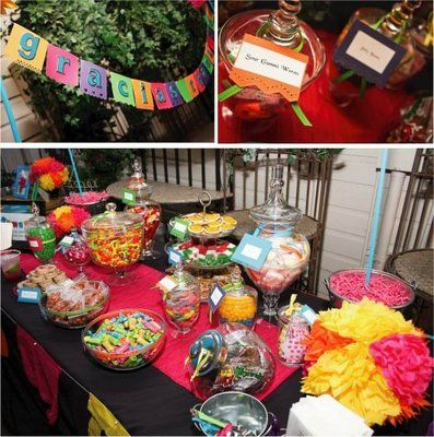 M And M Wedding Candy Buffet Wedding Mexican Themed Weddings Mexican Candy Bar