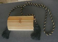 Vintage YSL Yves Saint Laurent Gold Evening Purse Bag Clutch Logo Tassels