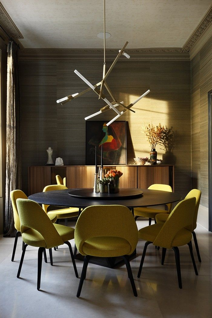 10 Round Dining Tables To Create A Cozy And Modern Decor Mid Century Dining Room Dining Room Chandelier Chandelier In Living Room