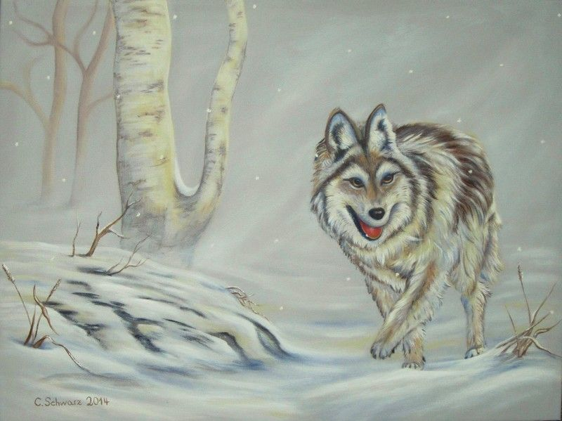HUNGRY WOLF  GESCHENK WÖLFE KUNST NATURMALEREI  von ACRYLFEE auf DaWanda.com   …