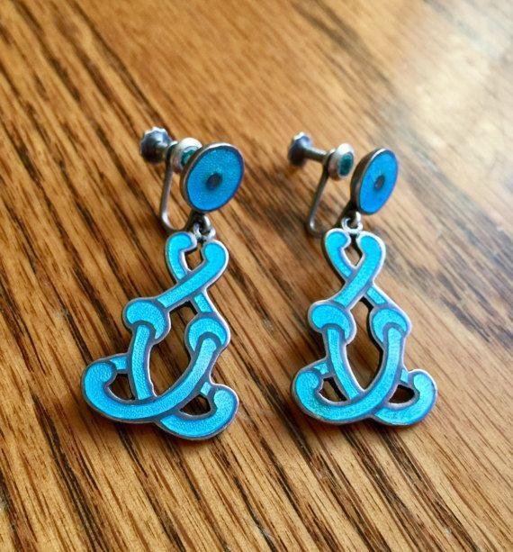 Margot de Taxco Sterling blue enamel earrings dangle by BrensAttic