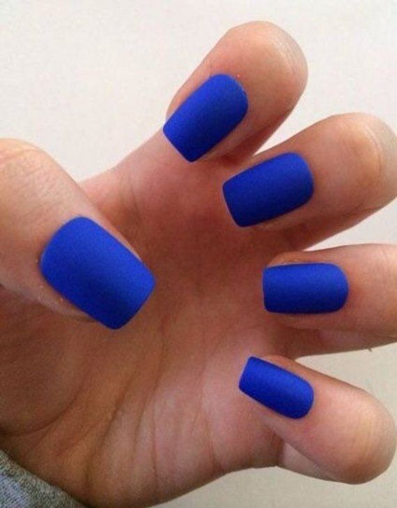 Royal Blue Short Square Press On Nails Hand Painted Hand Designed 20 Pc Assorted Sized Blue Matte Nails Fake Nails Floral Nails