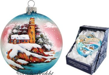 G Debrekht Lighthouse Glass Ornament Drop