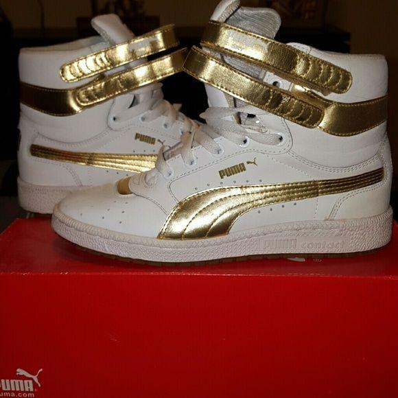 gold high top pumas