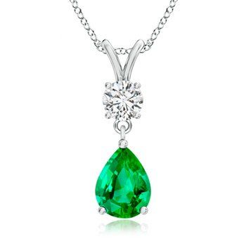 Angara Round Emerald Necklace in Platinum fJIHCz