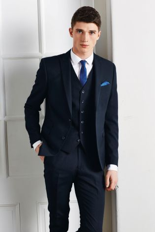 Navy Skinny Fit Suit: Jacket from Next | Three piece suits ...