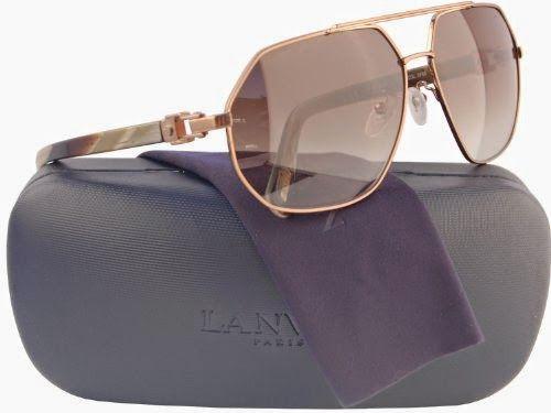 LANVIN SLN023 Aviator Sunglasses Striped Brown w/Brown Gradient (0F68) LN 023 F68 61mm