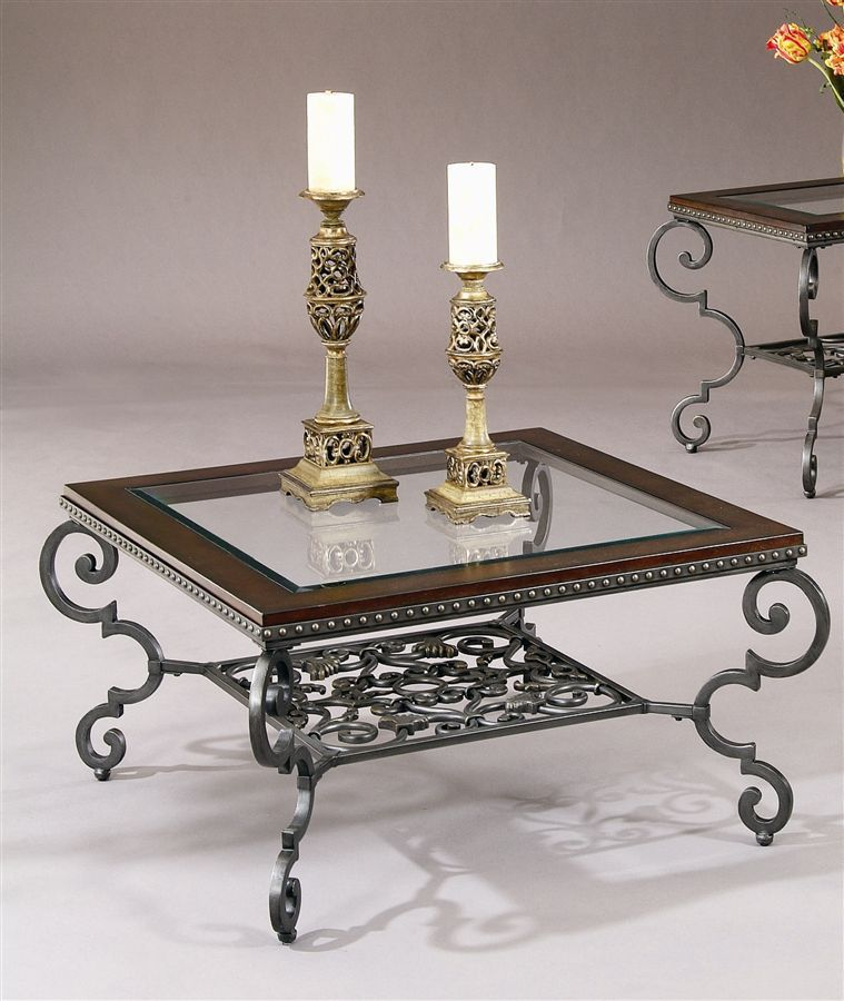 Copeland Square Coffee: Giordino Square Coffee Table W Scroll Metal Frame & Glass
