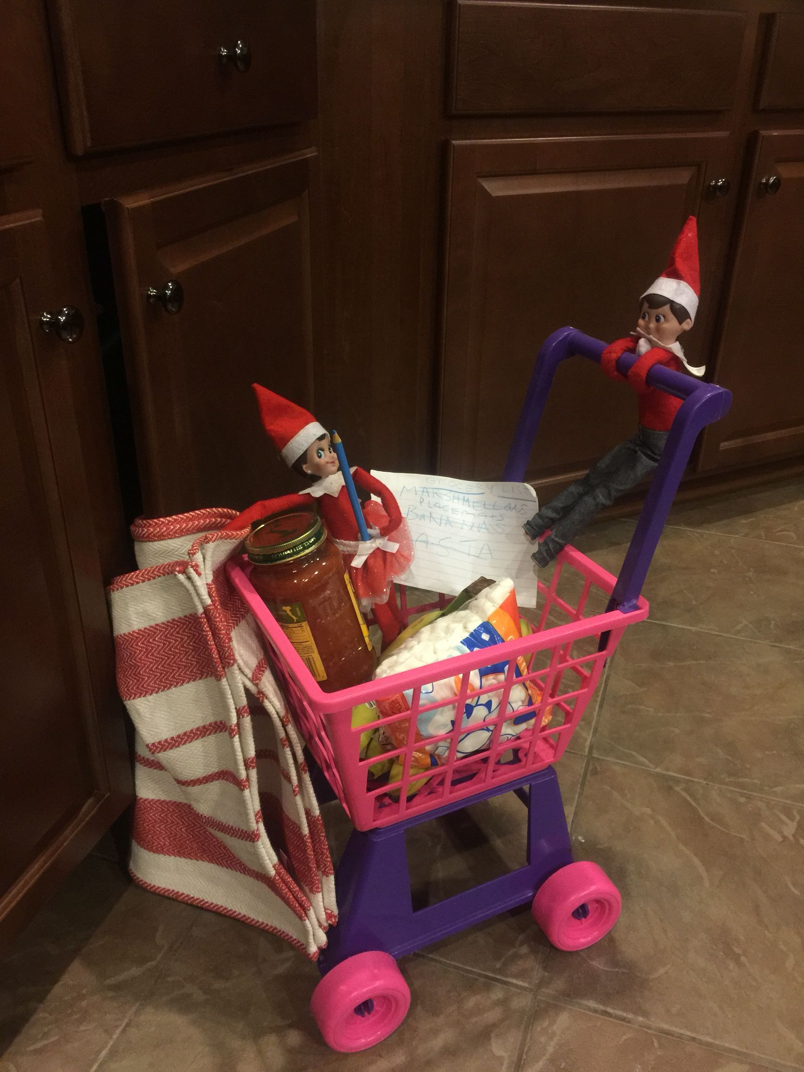 Elves with their grocery list, shopping around the kitchen
