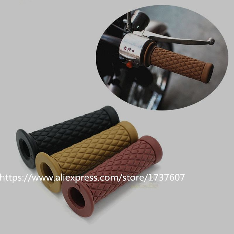 Universal 7 8 22 Mm Vintage Caoutchouc Moto Poignee Poignees Cafe Moto Guidon Poignees 3 Couleurs Di Motorcycle Accessories Handlebar Grip Custom Sport Bikes