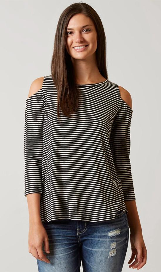 9d86d637a4b Long Sleeve Striped Shirts : Hip Cold Shoulder Top | Buckle | Closet ...