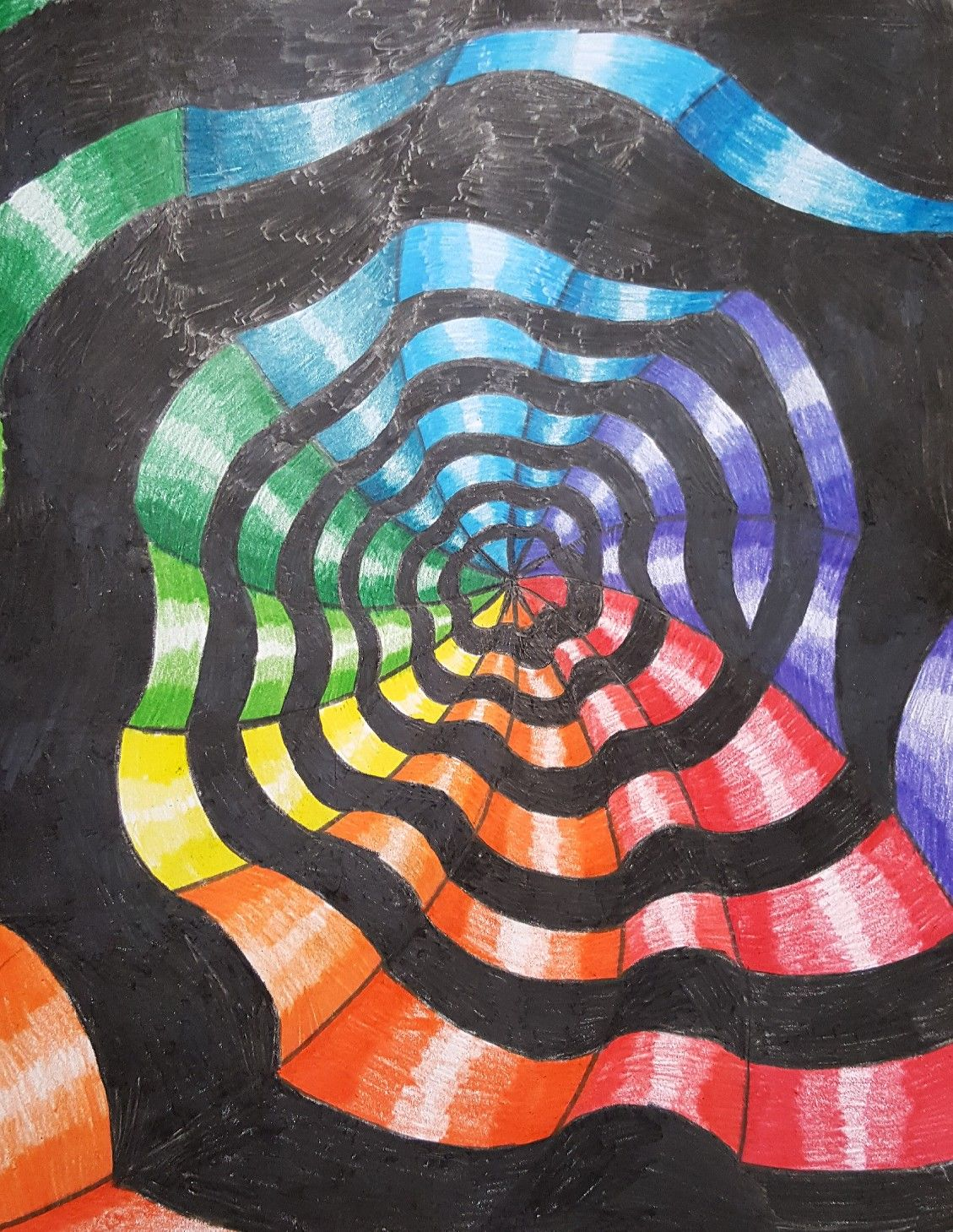 Wavy Op Art Colorwheel Spiral Art Ed Central 7th Grade