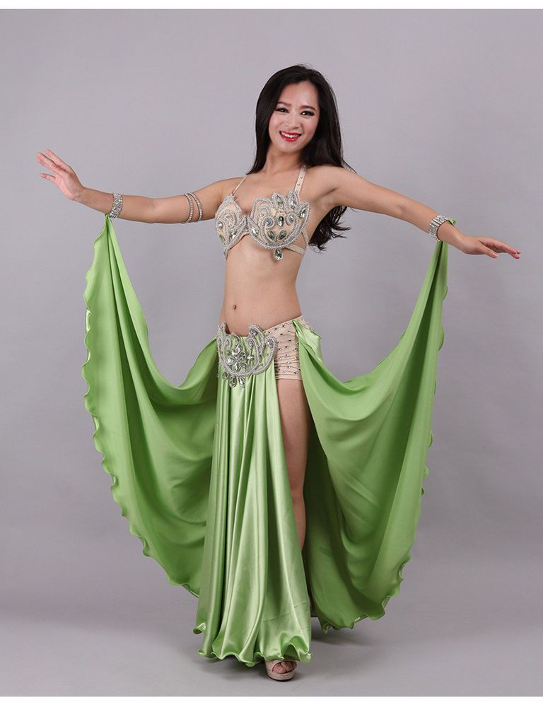 7f0a870bf90 Hot Sale Sexy Luxury Professional Beading Belly Dancing Costumes Bra+Skirt  S M L