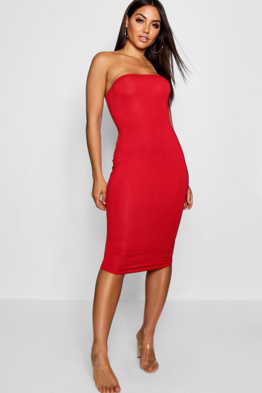 Bandeau Bodycon Midi Dress Boohoo Midi Dress Bodycon Bodycon Dress Red Midi Dress [ 1500 x 1000 Pixel ]