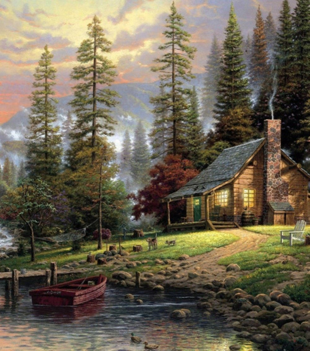 Cabin By The Lake Waterproof 60 X 72 Shower Curtain Hooks Included